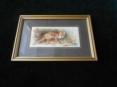 Red Fox By J & J Cash Vintage Silk & Rayon Woven Picture Framed
