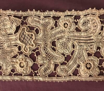 93 cm BEAUTIFUL ANTIQUE 19th CENTURY LINEN TAPE LACE, PICOTS, RAISED WORK 240.