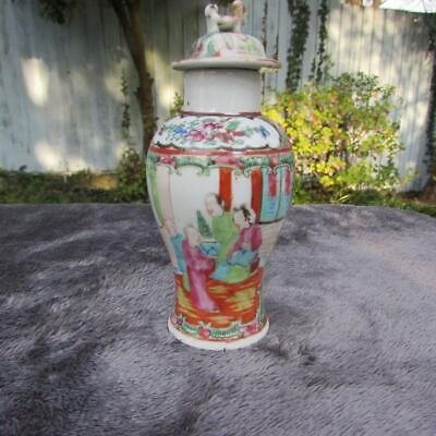 CHINESE ANTIQUE 19thC CANTONESE FAMILLE ROSE VASE and COVER