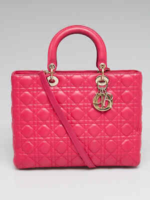 348d21a993c Christian Dior Pink Quilted Cannage Lambskin Leather Large Lady Dior Bag