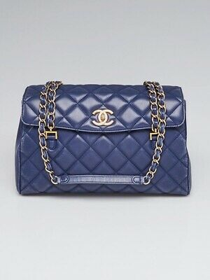 e03f36ba3412 Chanel Navy Blue Black Quilted Lambskin Leather Misia Camera Flap Bag