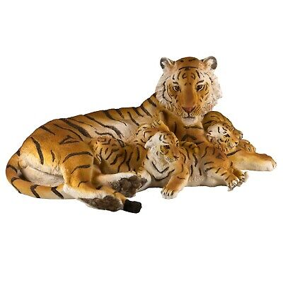 "Tiger With 3 Cubs Large Scale Figurine Statue 15.5"" Long Detailed Resin New!"