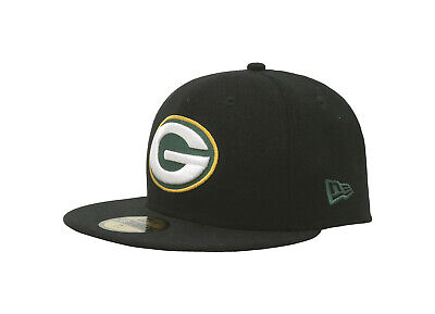 28d2d0d6f01 New Era 59Fifty NFL Mens Cap Green Bay Packers Black Fitted 5950 Hat Big  Size