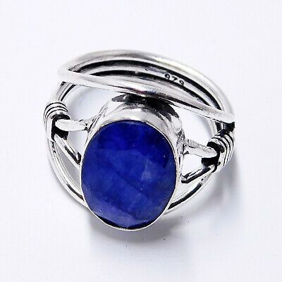 Blue Sapphire 925 Sterling Silver Plated Handmade Jewellery Women Ring UK Size-P
