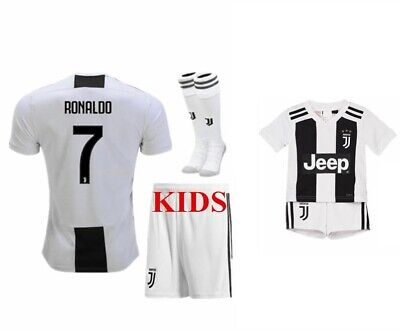 d053810e1e6 Juventus Ronaldo Home Black   White Kids Jersey + Shorts + Socks All Youth  Sizes