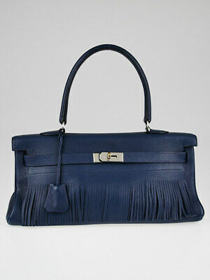 d49c236d4a Hermes 42cm Blue Obscure Clemence Leather Palladium Plated Fringe JPG Kelly  Bag