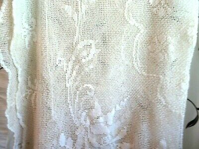 """1950'S/60'S Ivory Lace Tablecloth-50"""" X 72""""-Stains-Needs Repair"""