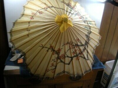 Asian Japanese Chinese Paper Rice Umbrella Parasol Cherry blossom Vintage