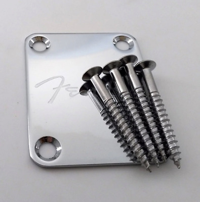 Chrome Guitar Neck Plate FENDER for Strato and Tele guitar