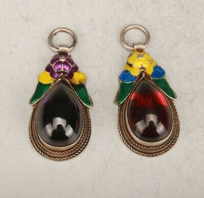 2 Retro Tibetan Silver Cloisonne Ruby Necklace Pendant Exclusive Customization