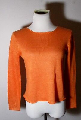 9aecb130757 EILEEN FISHER LADIES Orange 100% Linen Open Knit Top Blouse XS ...