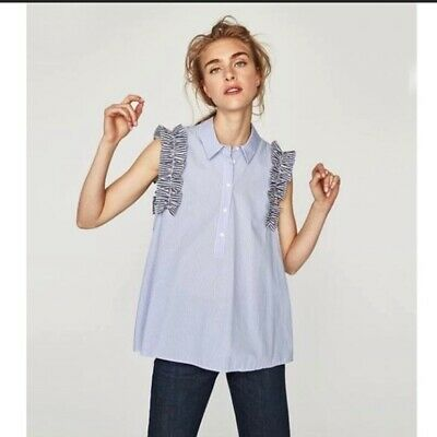 de5293af79664 Zara Frilly Poplin Sleeveless Ruffle Blouse Top Women s Blue And White Large