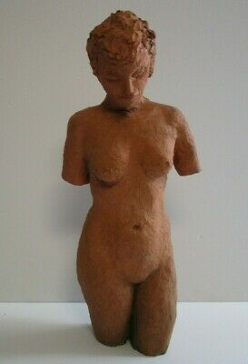 Vintage Terracotta Clay Sculpture Large Female Woman Nude 24 Inches Mystery Art