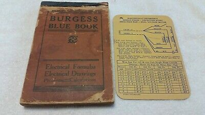 1918 Vintage Rare Burgess Blue Book Electrical Formulas Drawings Chicago