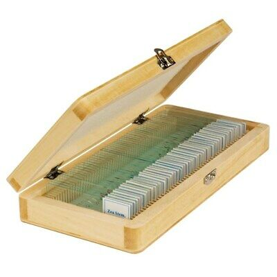 50 Prepared Microscope Slides with Wooden Storage Box in Basic Science