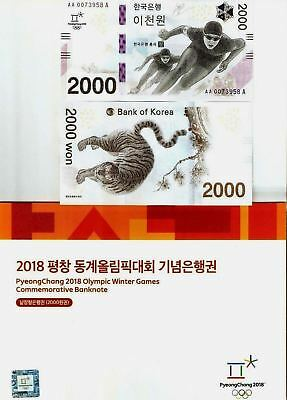 South Korea 2000 Won 2018 Winter Olympic Commemorative Unc Skate Tiger + Folder