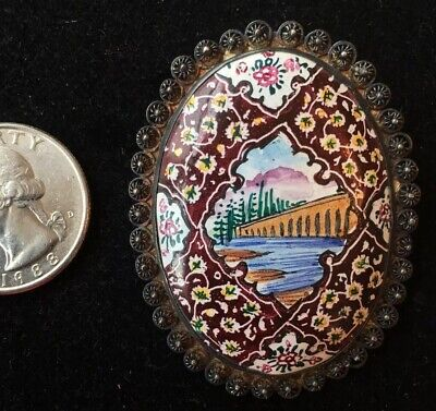 Antique Persian ? Hand Painted Enameled Brooch Pin in Silver