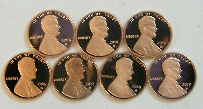 2013 2014 2015 2016 2017 2018 2019 S Lincoln Shield Cent Proof Penny Set