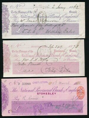 "Great Britain: National Provincial Bk 1862-1918 ""LOT OF 3 CHEQUES"" + Duty Stamps"