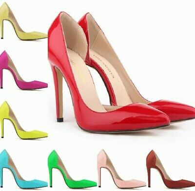 Womens Pointy Toe High Stiletto Heel Pump Court Shoes Cut Out Patent Leather Sz