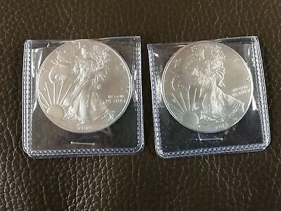 2 Lot american silver eagle 1 oz coins: 2013 & 2019 Free Shipping