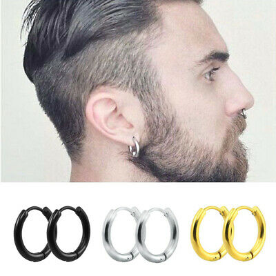 Men Women Titanium 316L Stainless Steel Round Hoop Gothic Earrings Punk Jewelry