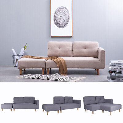 Modern 2 Seater Settee Sofa Fabric Couch Love Seat Corner Footstool Lounge Suite
