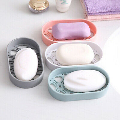 Home Bathroom Water Draining Soap Dish Case Holder Hollow Drainer Soap Storage L