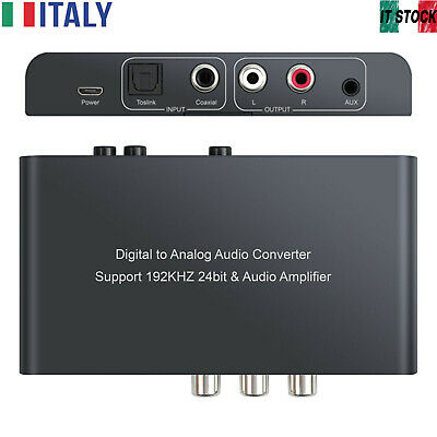 DAC Convertitore audio 192KHz Digitale Coassiale Toslink ad Analogico Stereo L/R