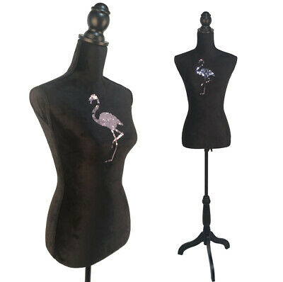 Female Mannequin Torso Dress Form Display Body with Tripod Stand Sequin