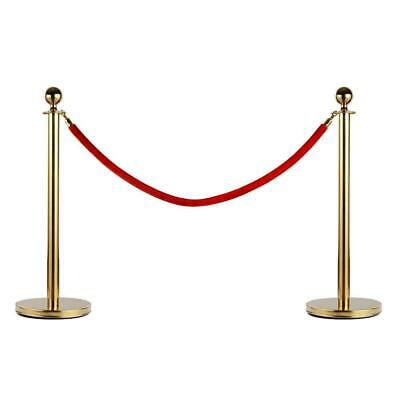 2 Gold Plated Stanchions Red Velvet Rope Crowd Control Hollywood VIP Party Bar