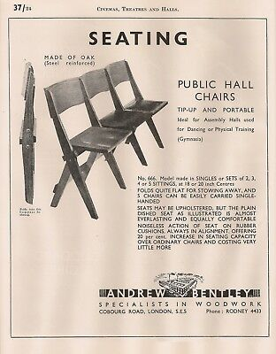 Bentley Folding Oak Chairs, Goddard & Gibbs Stained Glass 1947 Vintage Advert