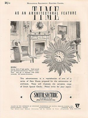 Smiths Cricklewood Sectric Rivoli Sunray Electric Clocks 1947 Vintage Advert