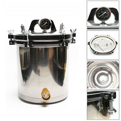 18L New Lab/Dental Stainless Electric Heated Autoclave Steam Sterilizer Pot Kits