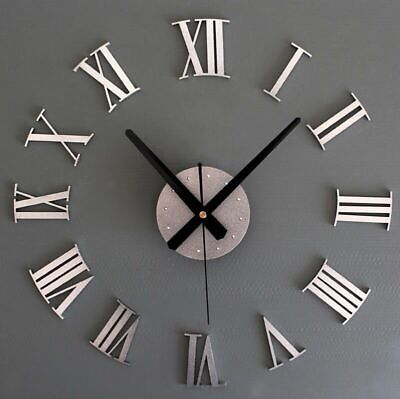DIY 3D Large Number Mirror Wall Clock Self-adhesive Sticker Home Office Decor GB