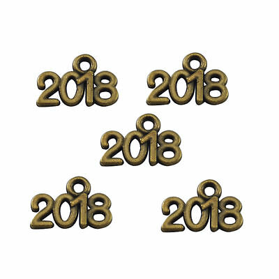 "Retro Bronze Zinc Alloy Simple ""2018"" Shaped Jewelry Crafts Pendants 199pcs/lot"