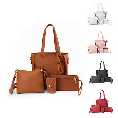 Women 4pcs PU Leather Messenger Satchel Clutch Handbag Shoulder Bag Tote Purse