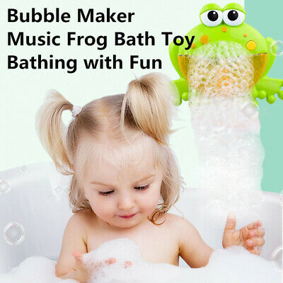 Music Frog Bubble Maker Automated Spout Bubble Machine Kids Fun Bathing Toy Gift