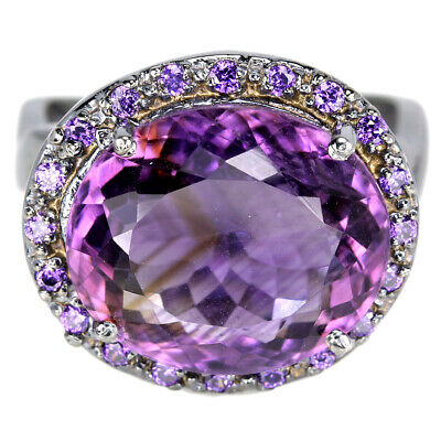 Natural Aaa Purple Amethyst Round 15X13 Mm. & Cz Sterling 925 Silver Ring Size 8
