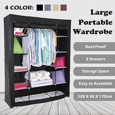 Perfect Fabric Canvas Wardrobe With Hanging Rail Shelf Clothes Storage Cupboard