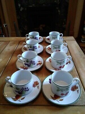 Royal Worcester Evesham Vale fine porcelain cups and saucers - set of eight xx