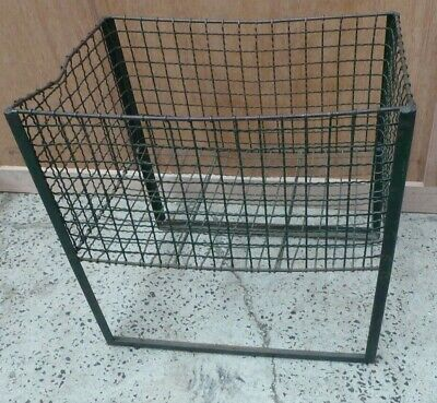 Vintage Mesh Industrial Clothing Sewing  Factory Sliding Dump Bin