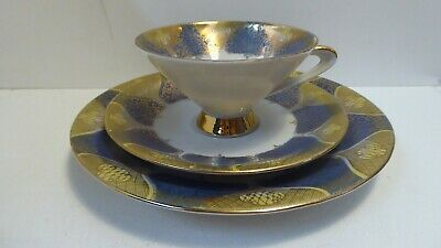 Bavarian German Porcelain Art Deco Trio China  Tea Cup Saucer Plate Set Gilt