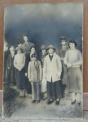 Antique Black & White Family Portrait Photograph Victorian Albumen