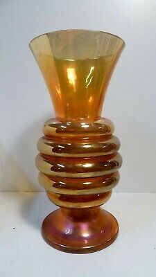 Art Deco Carnival Glass Vase Iridescent Beehive Ribbed Antique Vase