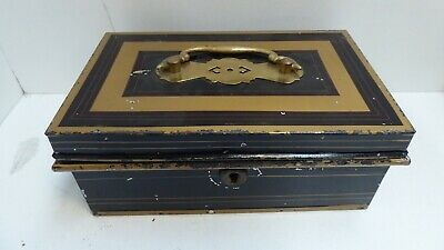 Antique Metal Cash Tin Box