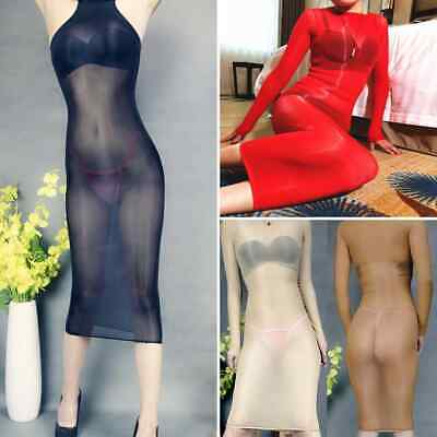 Lady Super Shiny Glossy Elastic Sheer Body Stockings Shaping Long Dress Clubwear