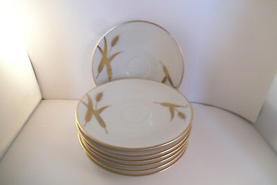 Meito Norleans China Midas Gold Wheat Japan Set of 7 Saucers