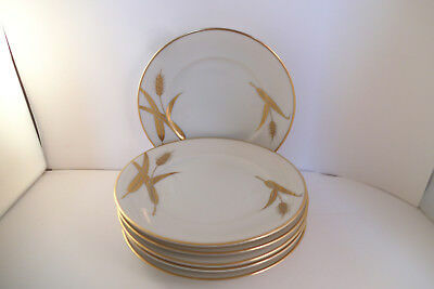 Meito Norleans China Midas Gold Wheat Japan Set of 6 Bread Plates