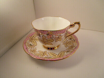 Vintage Royal Standard Bone China England Cup & Saucer Pink Gold Ivy Leaves